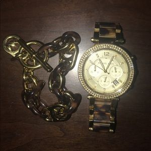 Michael Kors watch & chain bracelet